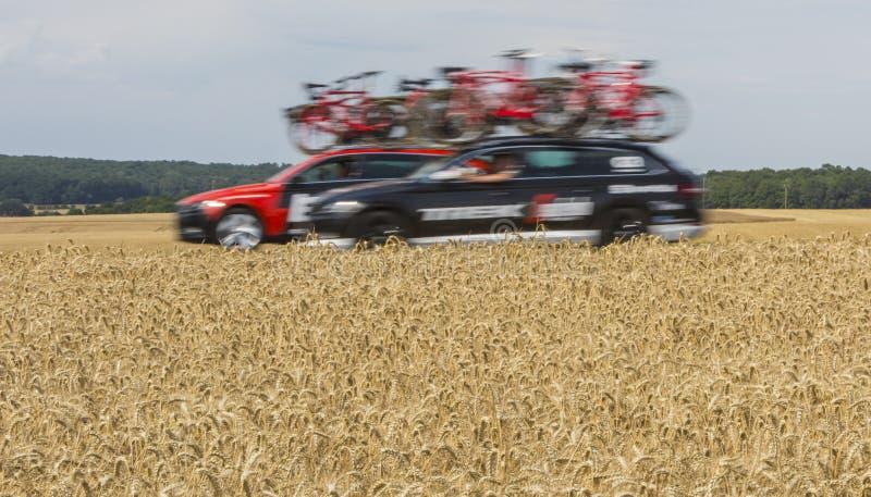 Carros técnicos - Tour de France 2017 imagens de stock