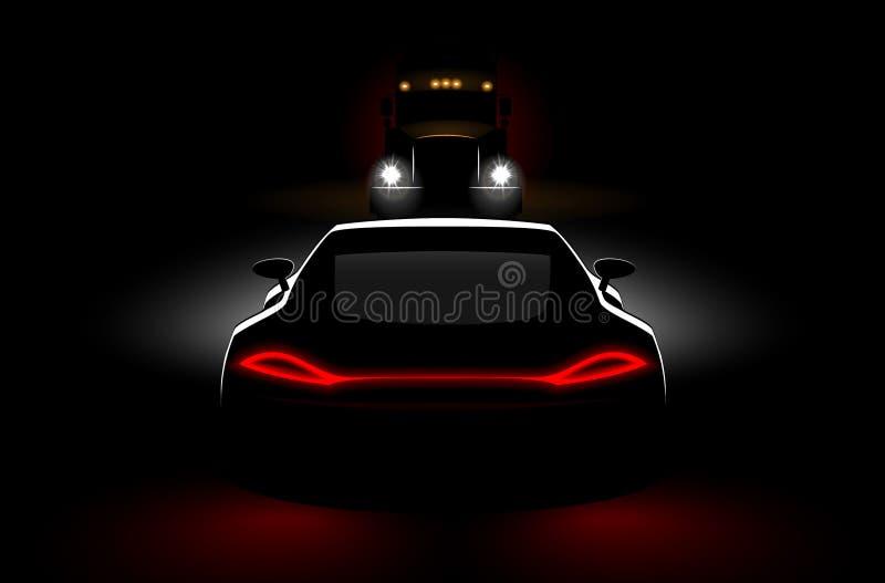 Carros a uma reunião um acidente do caminhão na obscuridade com os faróis e as lanternas traseiras ilustração do vetor