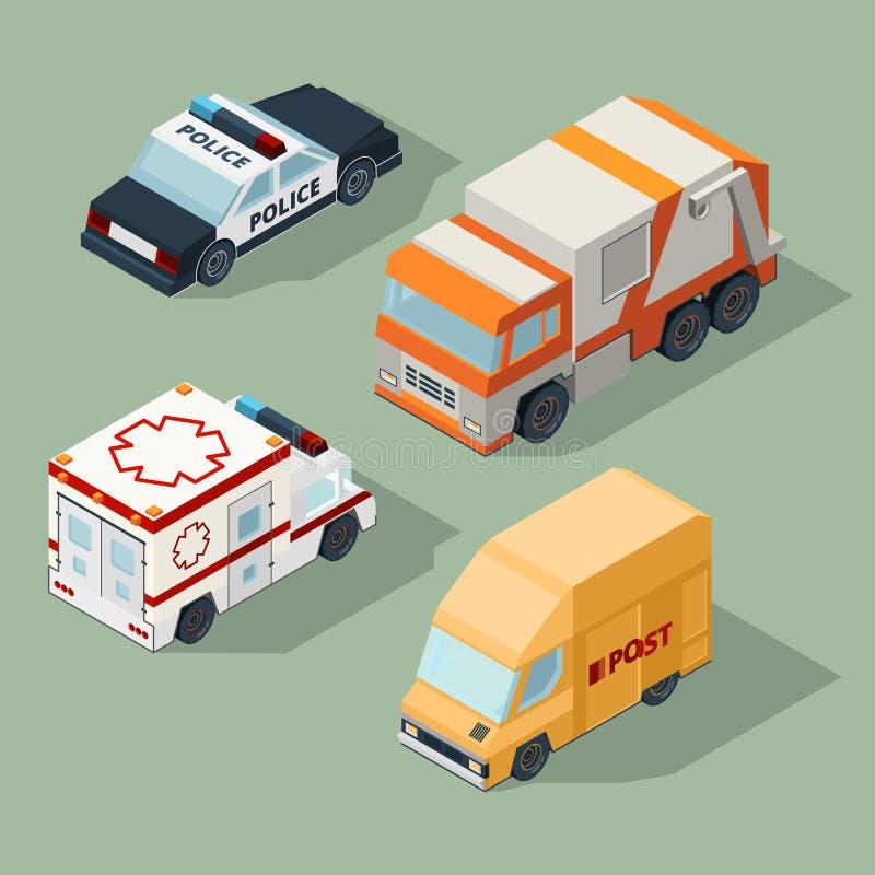 Carros urbanos isométricos Caminhão de lixo correio camionete polícia e ilustrações do tráfego de cidade 3d do vetor da ambulânci ilustração royalty free