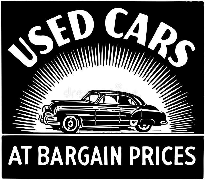 Carros usados a preços de saldo ilustração stock