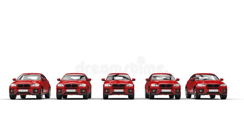 Carros vermelhos poderosos modernos ilustração do vetor