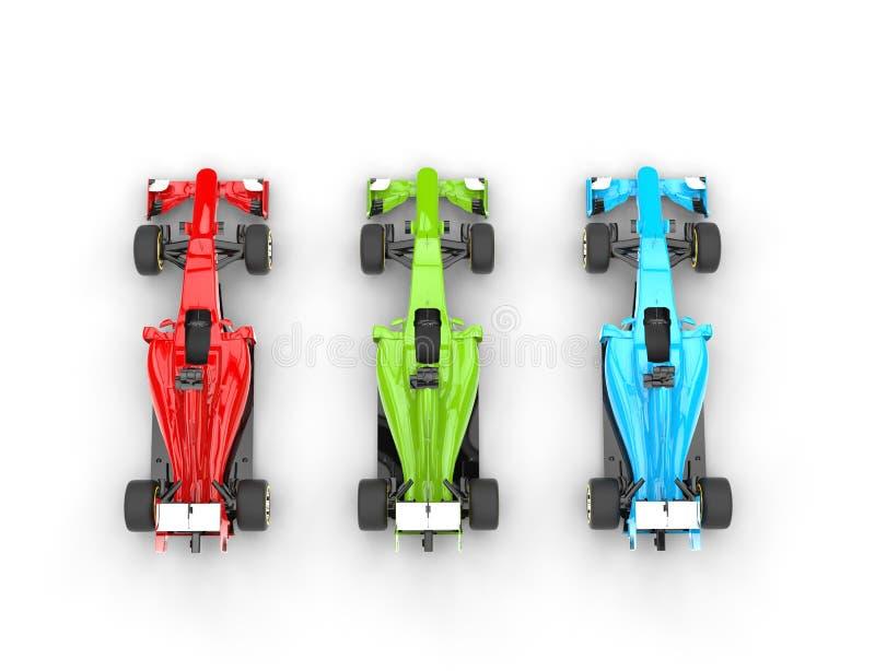 Carros vermelhos, verdes e azuis do Fórmula 1 - vista superior foto de stock