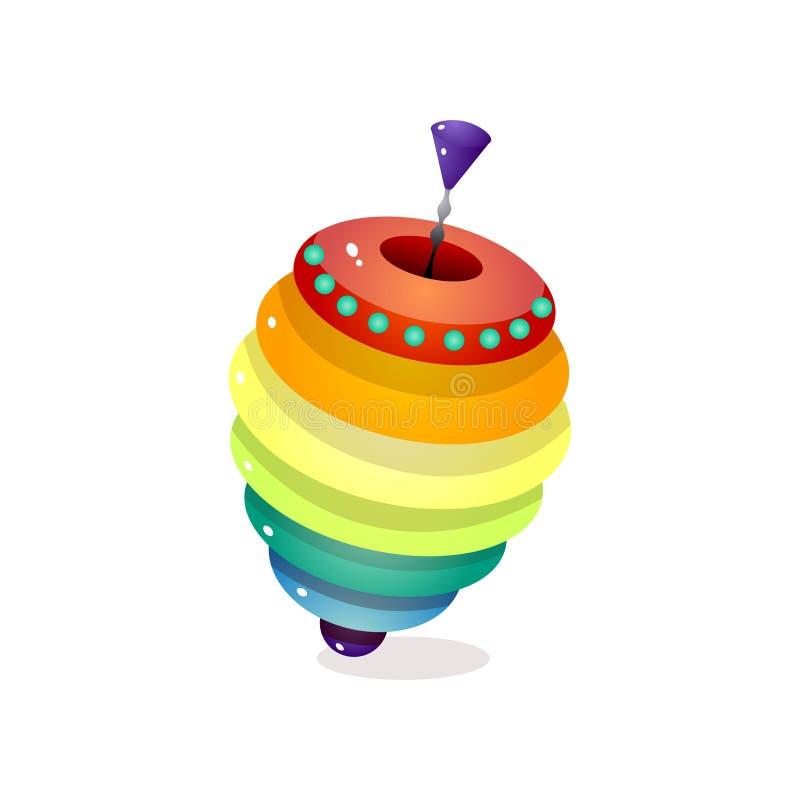 Carrossel colorido do arco-íris pelo tempo do jogo da casa da criança ilustração do vetor