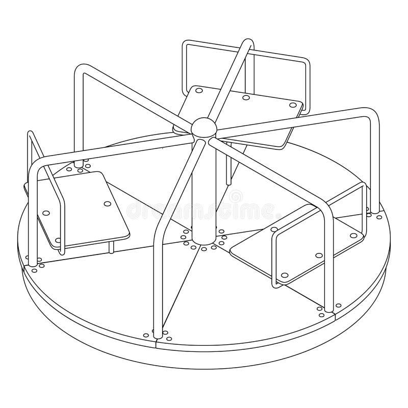 Carrossel com seis assentos, ilustração isométrica do ` s das crianças do vetor do contorno preto e branco no fundo branco ilustração do vetor