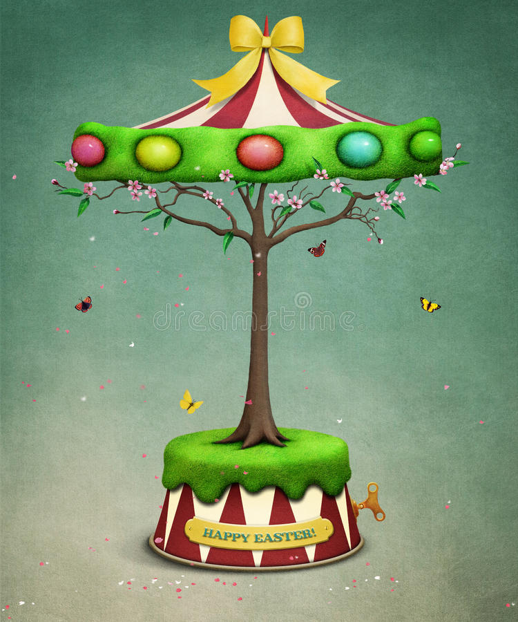 Carrossel da árvore da Páscoa ilustração stock