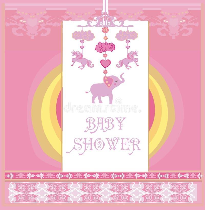 Carrossel do bebê com elefantes, unicórnios e nuvens ilustração royalty free