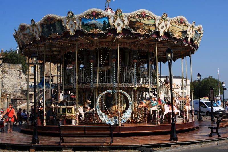 Carrossel em Honfleur, Normandy, França fotos de stock royalty free