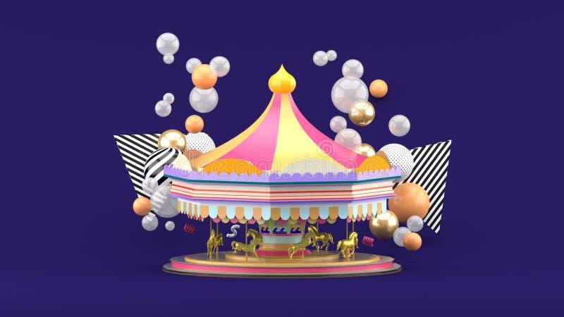 Carrossel entre bolas coloridas no fundo roxo ilustração royalty free