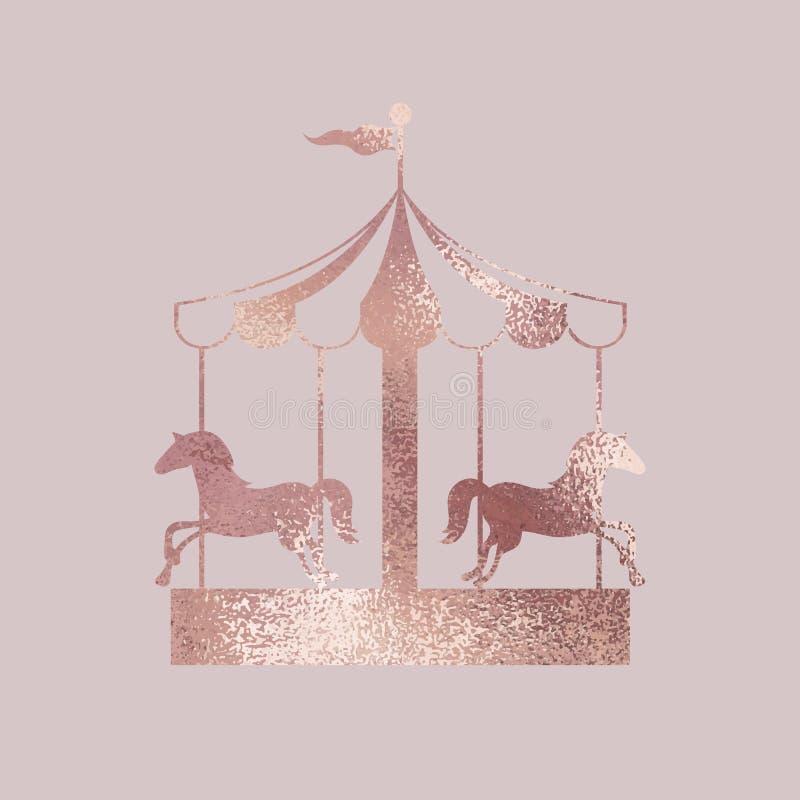 carrossel Ouro de Rosa Ilustração elegante do vetor ilustração royalty free