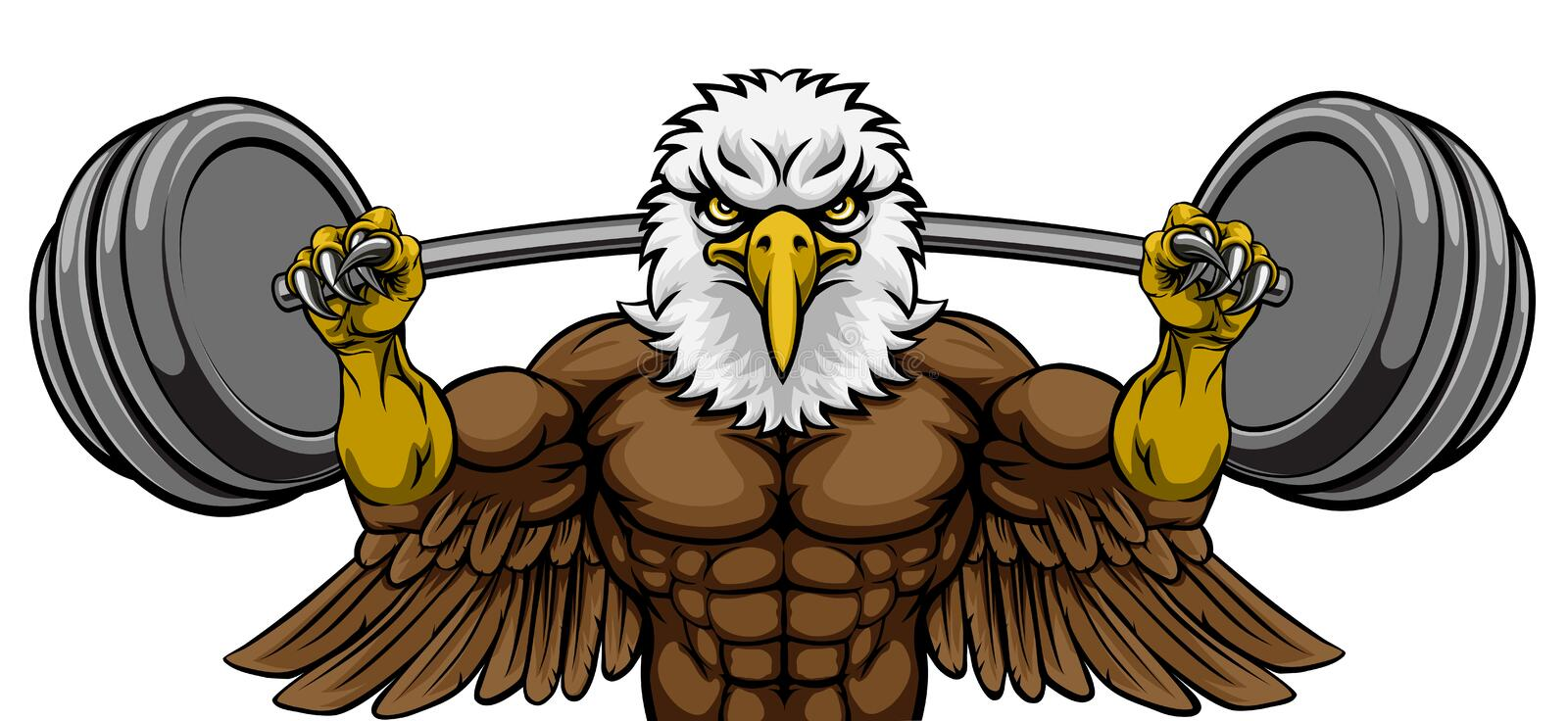 Carrossier d'Eagle Mascot Weight Lifting Barbell illustration stock