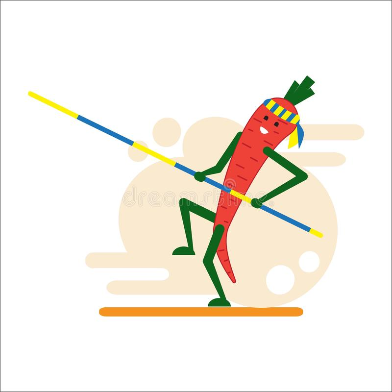 Carrot athlete. A smiling carrot makes a pole vault. Cheerful vegetable. Flat style. Vector. royalty free illustration