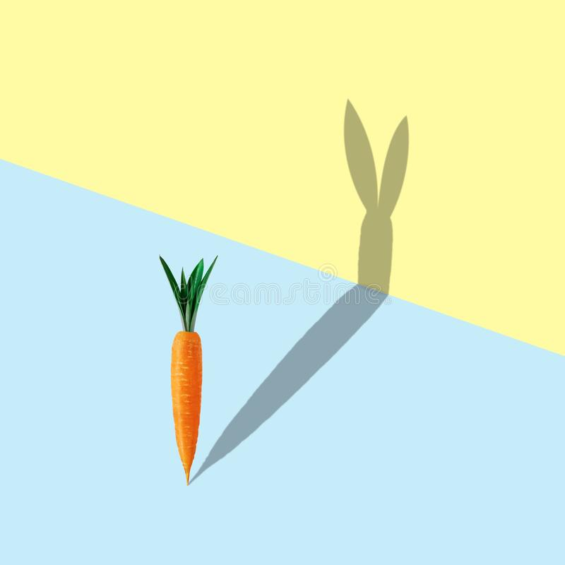 Carrot with bunny shape shadow on pastel blue and yellow background. Minimal easter concept stock images