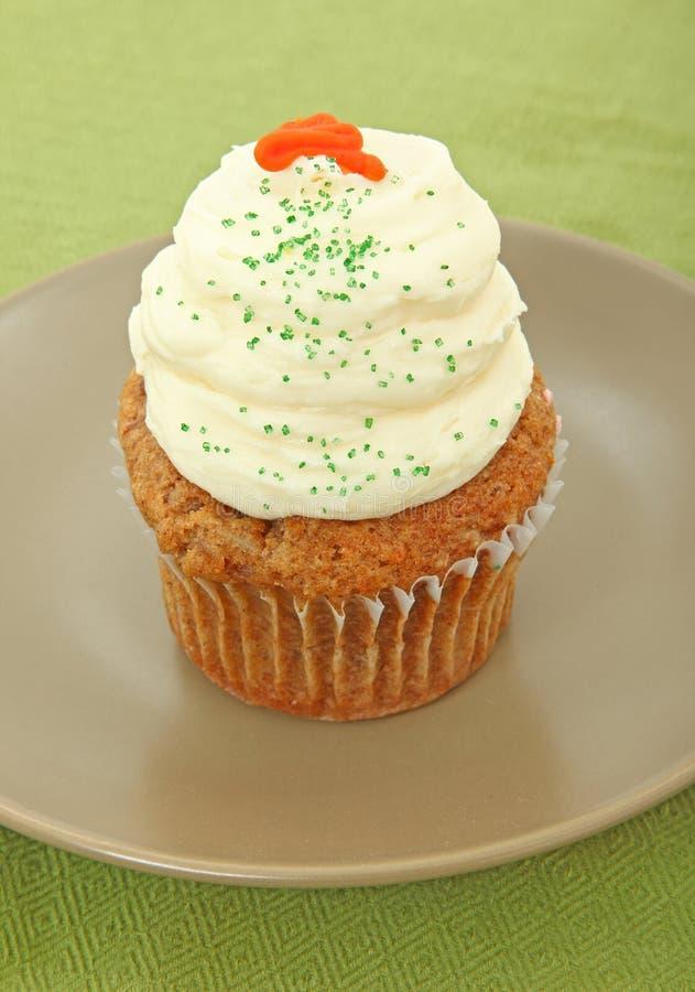 Carrot Cake Cupcake On Plate stock photos