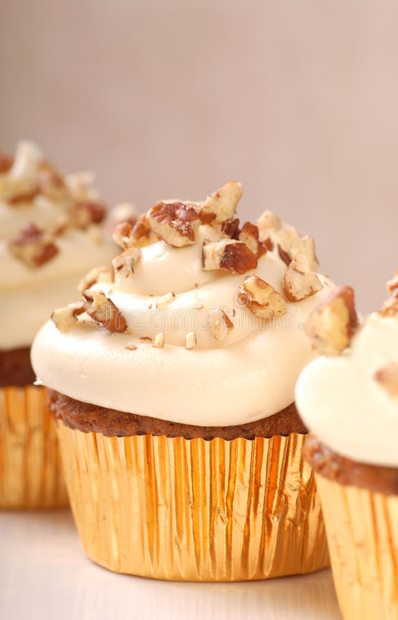 Free Carrot Cake Cupcake With Cream Cheese Frosting Stock Photos - 23159463