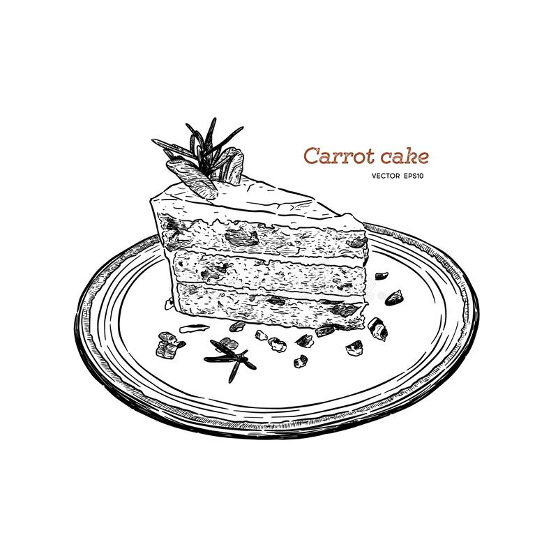 Carrot cake ,hand draw sketch vector. Carrot cake with walnuts, prunes and dried apricots hand draw sketch vector royalty free illustration