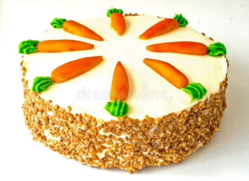 Carrot cake isolated. On white background stock images