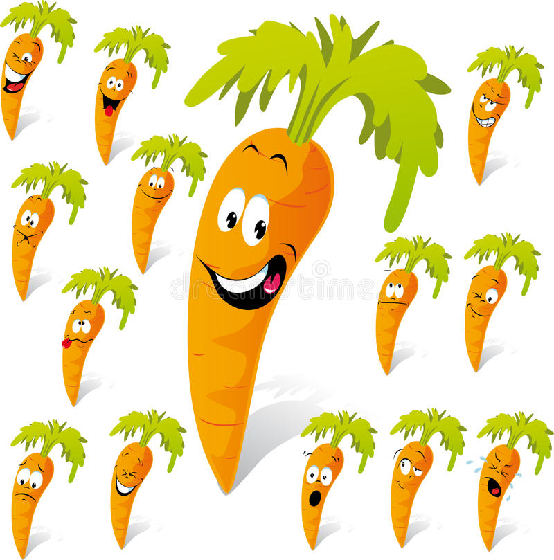 Carrot cartoon with many expressions. Isolated on white background royalty free illustration