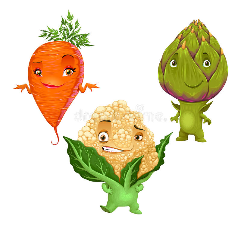 Carrot, Cauliflower and Artichoke. Funny vector vegetables vector illustration