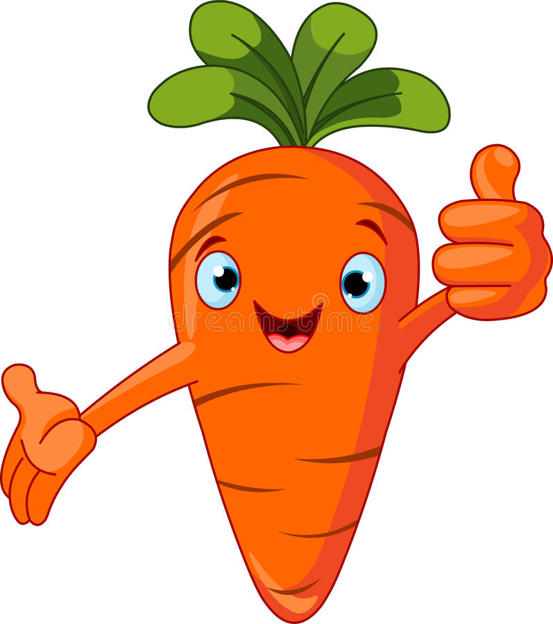 Carrot Character giving thumbs up royalty free illustration