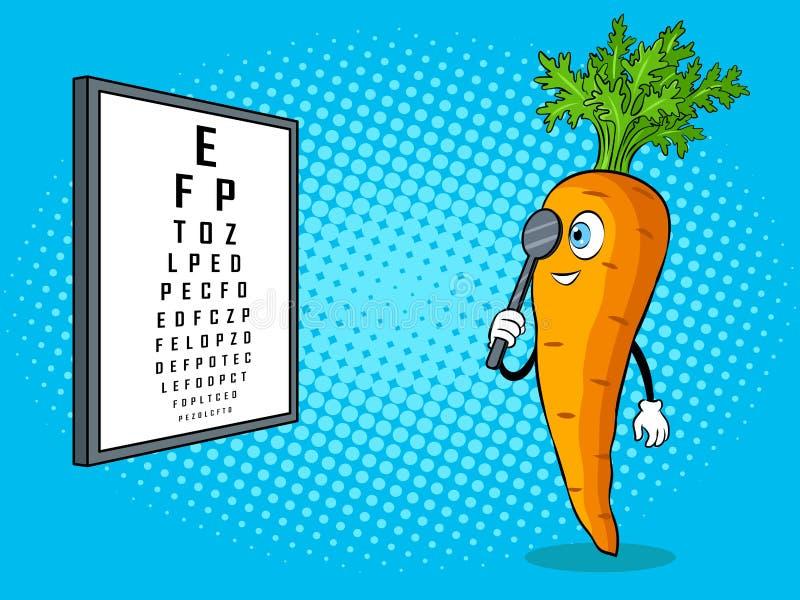 Carrot check vision pop art vector illustration stock illustration