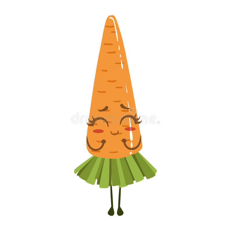 Carrot Cute Anime Humanized Smiling Cartoon Vegetable Food Character Emoji Vector Illustration. Funny Product With Arms And Legs Childish Design Isolated Icon royalty free illustration