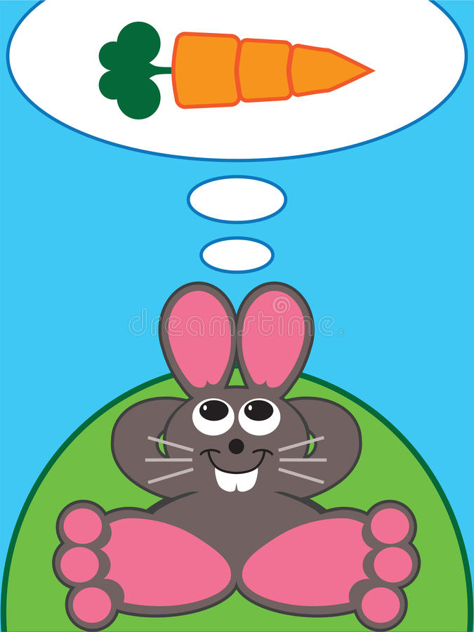 Carrot Daydream. Rabbit relaxing on hillside dreaming of eating a carrot royalty free illustration