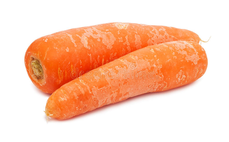 Carrot. Fresh orange carrot isolated on white background royalty free stock image