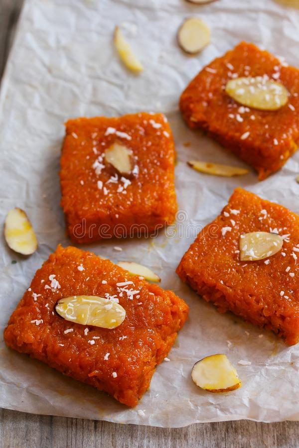Carrot halwa Burfee - Indian Diwali sweet. Carrot halwa - Diwali sweet made of carrots milk and sugar royalty free stock photography