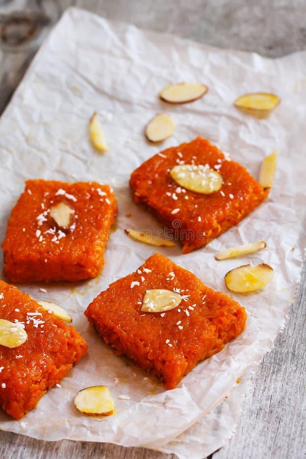 Carrot halwa Burfee - Indian Diwali sweet. Carrot halwa - Diwali sweet made of carrots milk and sugar royalty free stock images