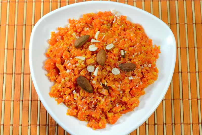 Carrot Halwa dish. Indian dessert dish Carrot Halwa also called as Gajar ka halwa royalty free stock image