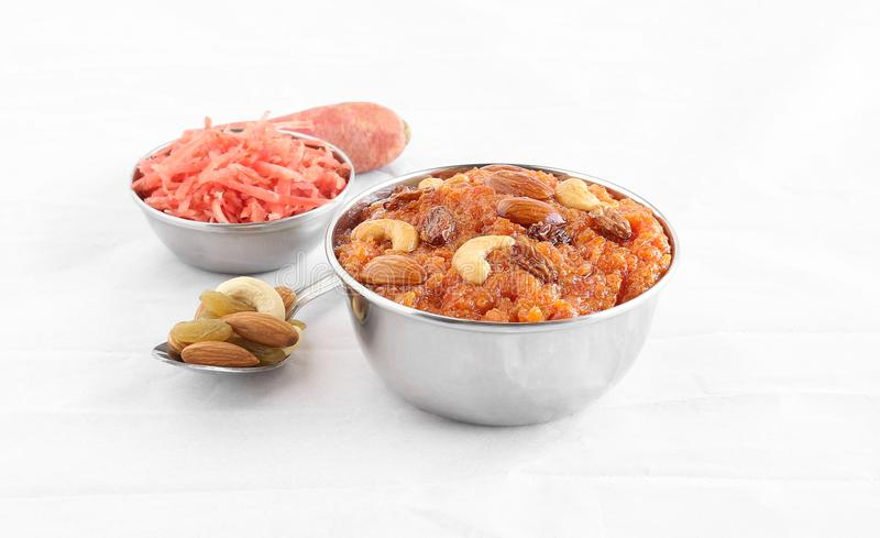 Carrot Halwa Indian Sweet Dish in a Steel Bowl royalty free stock images