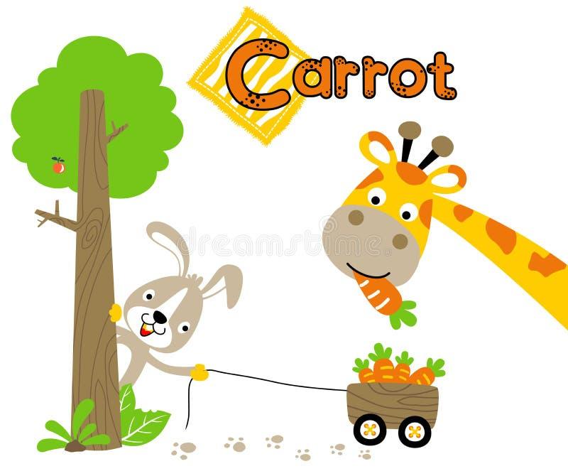 Giraffe and rabbit cartoon with lots of carrots vector illustration