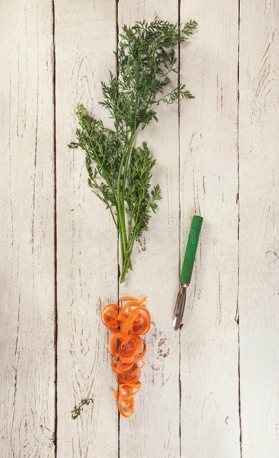 Carrot haulm and skin stock image