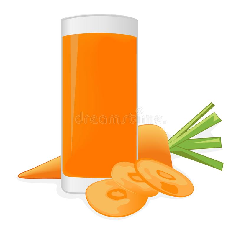 Carrot juice and a carrot. On a white background vector illustration