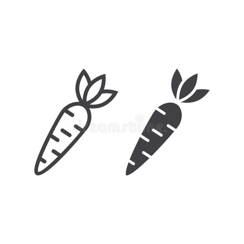 Carrot line and glyph icon, vegetable and food vector illustration