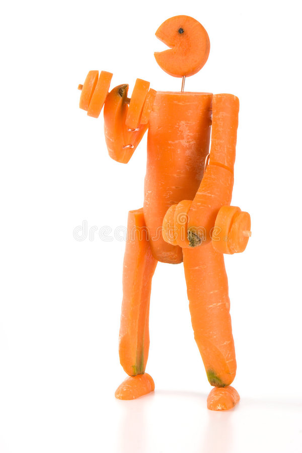 Carrot man fitness royalty free stock images
