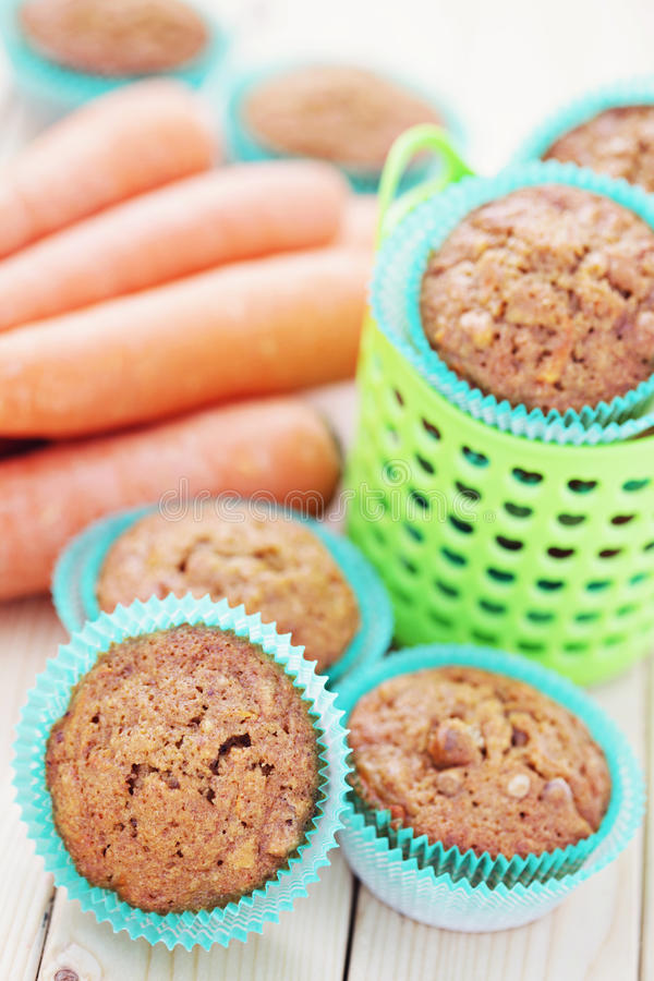 Carrot muffins royalty free stock photography