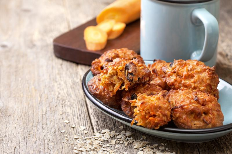 Carrot and oat cookies stock image