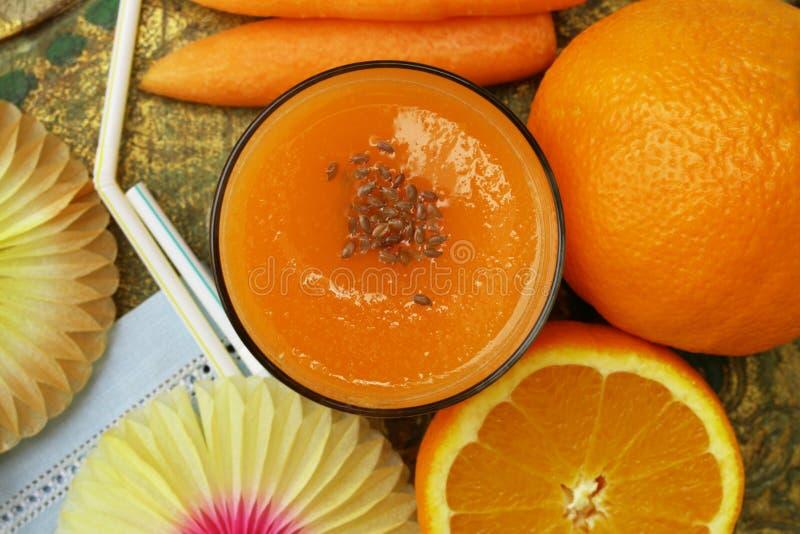 Carrot orange juice smoothie stock image