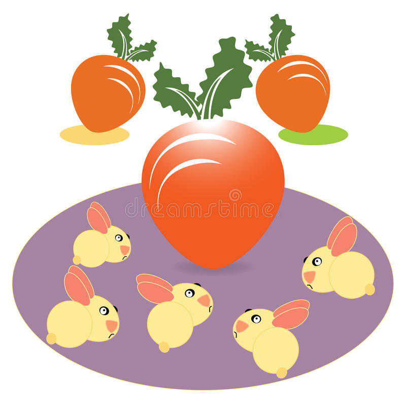 Carrot and rabbit. On white background vector illustration