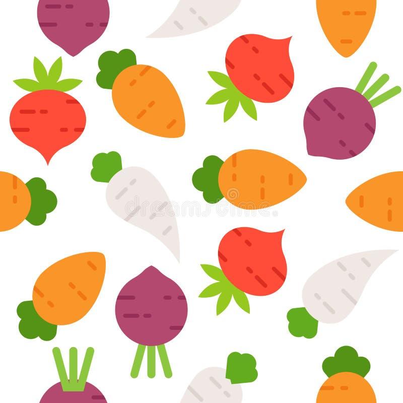 Carrot, radish, beetroot Seamless pattern vegetable for use as w. Carrot, radish, beetroot Seamless pattern vegetable vector for use as wallpaper or background vector illustration
