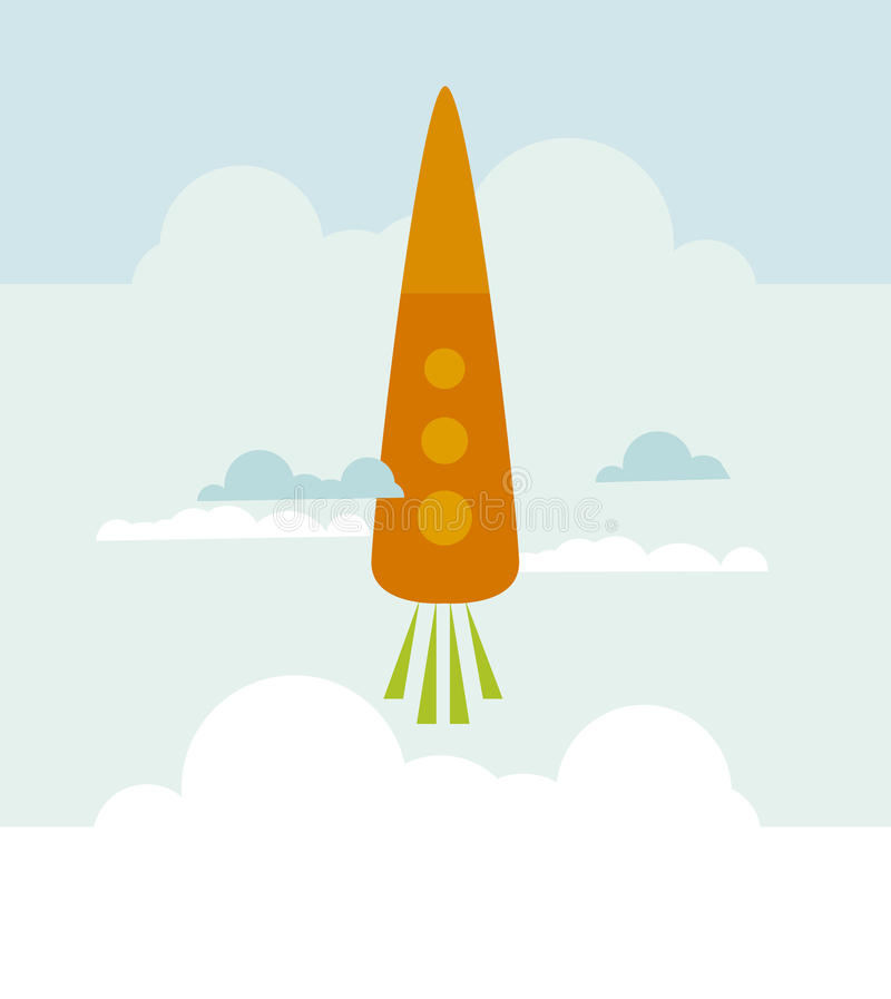 Download Carrot rocket stock vector. Image of flying, colour, clouds - 23322599