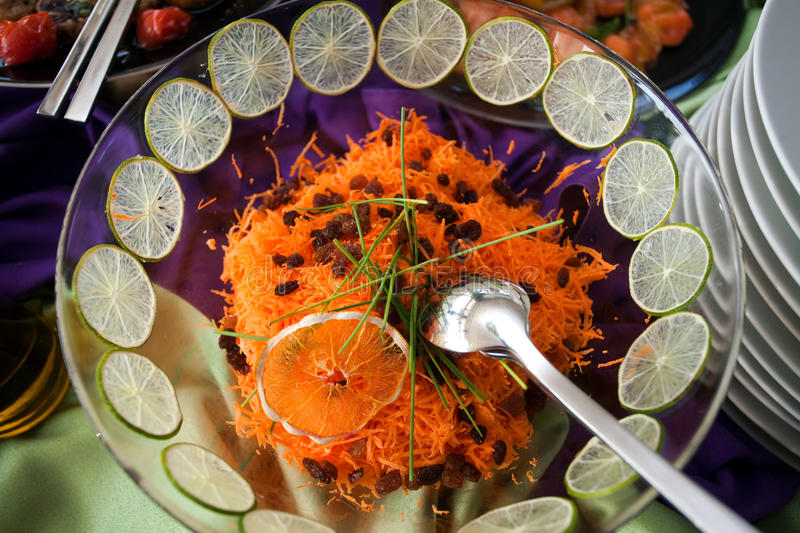 Carrot salad. A carrot salad on a plate stock photo