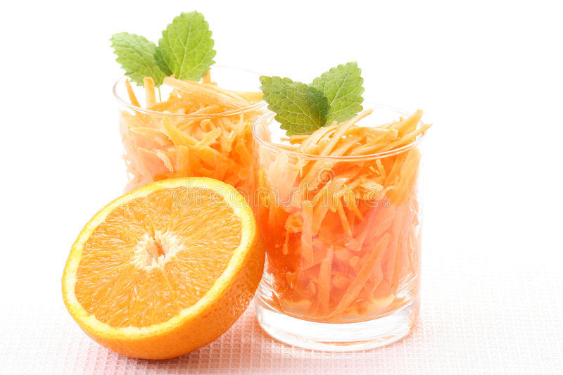 Carrot salad. Two glasses of carrot salad - healthy eating royalty free stock images