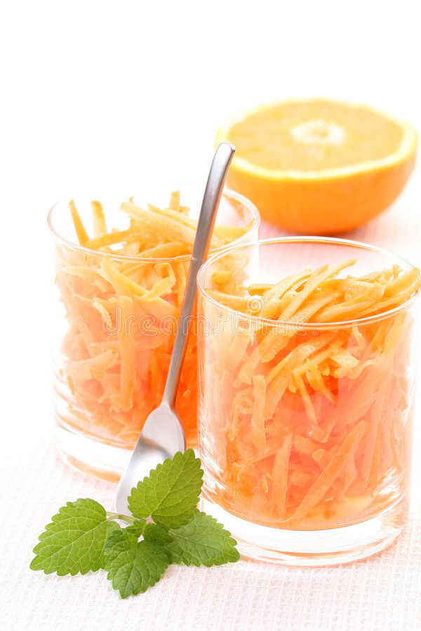 Carrot salad. Two glasses of carrot salad - healthy eating royalty free stock photos