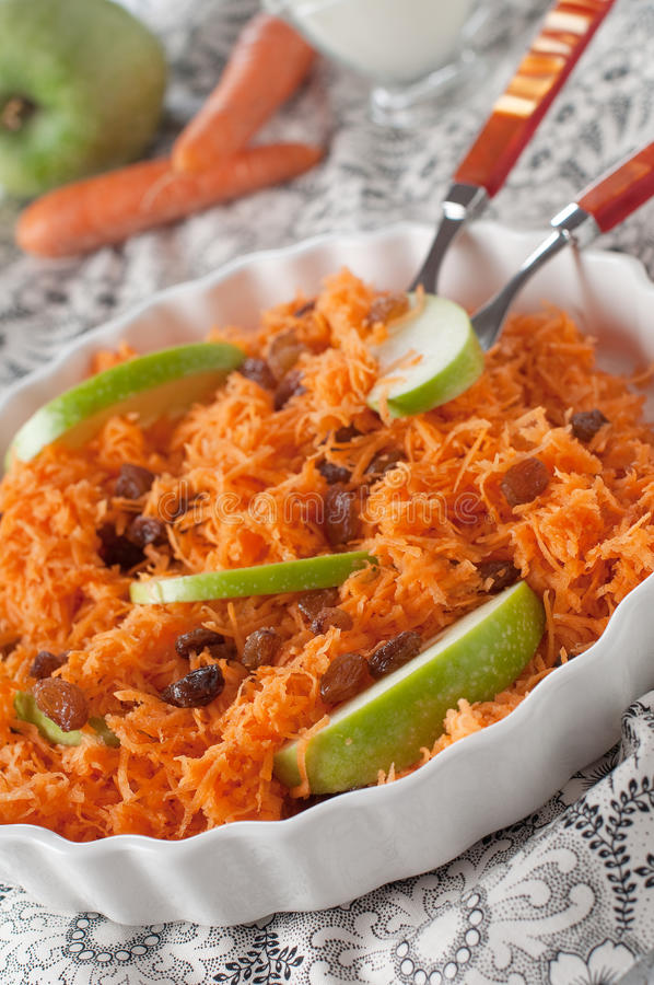 Carrot salad with apple. Sweet Carrot salad with apple royalty free stock photography