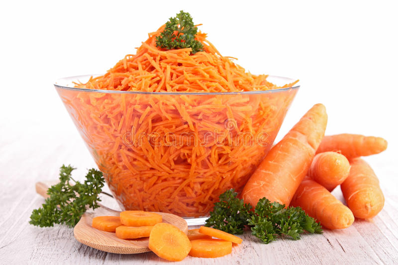Carrot salad. Close up on carrot salad stock images