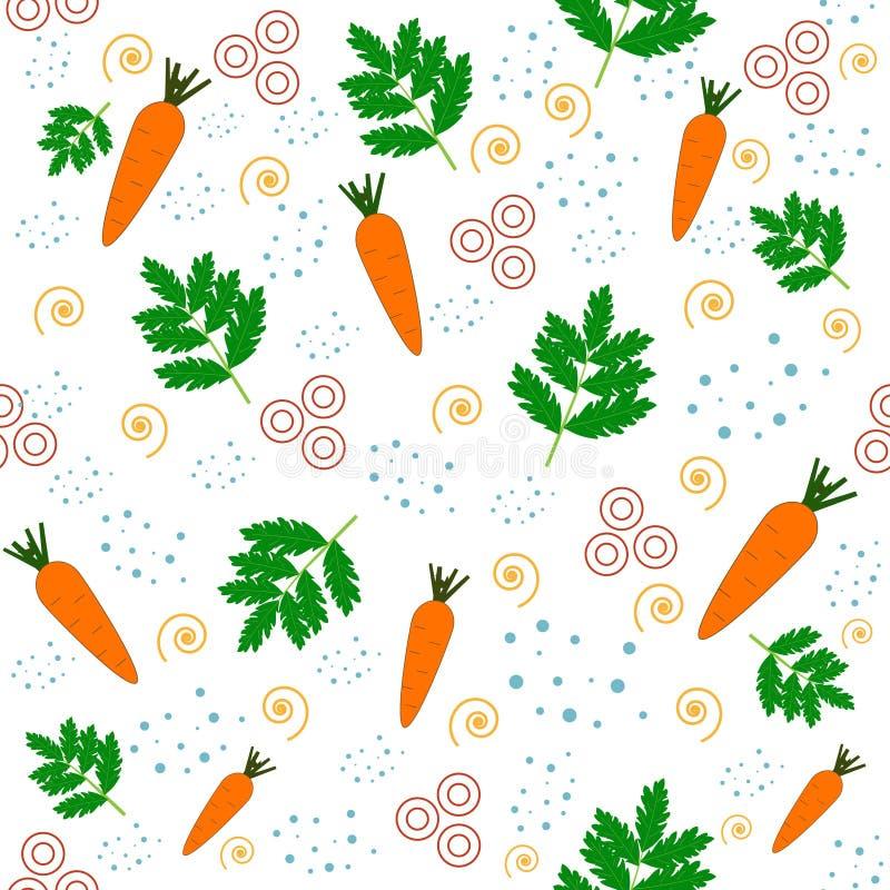 Carrot-seamless-pattern,-white-background,-vector 库存例证