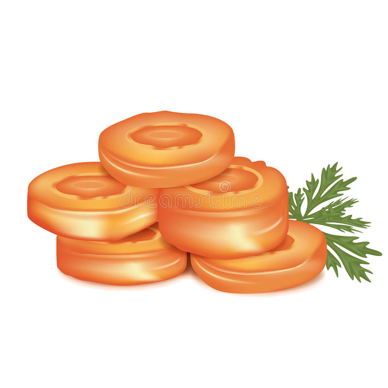 Carrot slices with parsley leaf royalty free illustration