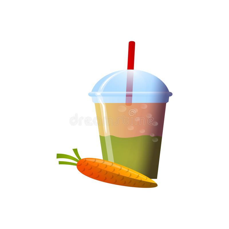 Carrot smoothies in a cup. Superfoods and health or detox diet food concept in sketch style. Vector illustration of different food products on white vector illustration